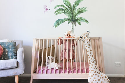 Baby Nursery room with palmtree