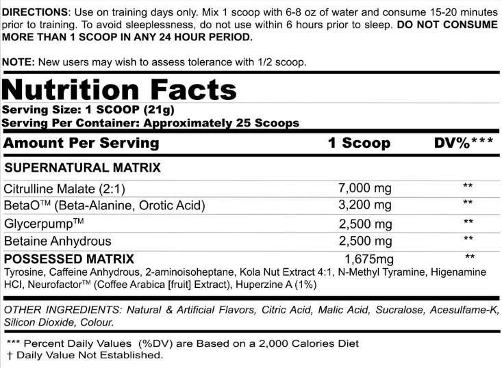 BZRK Ingredients