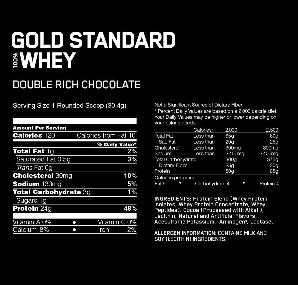 Gold Standard Whey Ingredient Facts