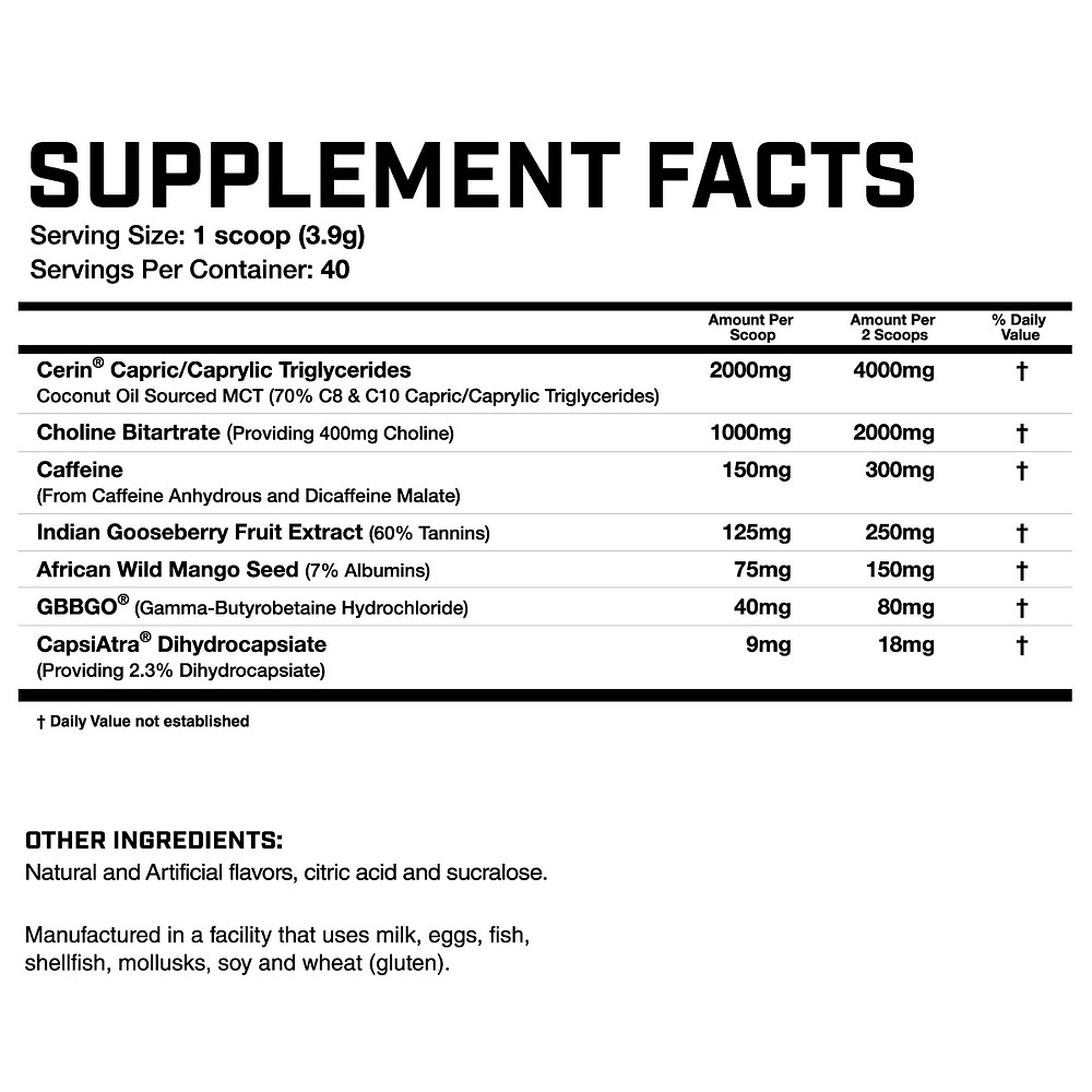 Fasted Cardio Ingredients