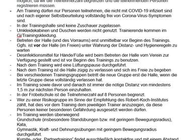 Hygieneregeln für künftiges Training beim 1. KDO
