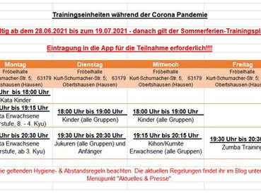 Trainingsbetrieb ab 28.06.2021
