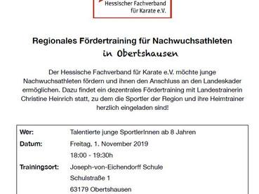Regionales Fördertraining für Nachwuchstalente in Obertshausen