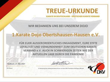 Treue-Urkunde des Deutschen Karate Verbands