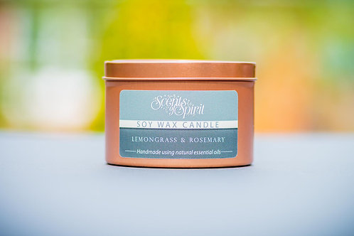 Lemongrass & Rosemary rose gold tin candle