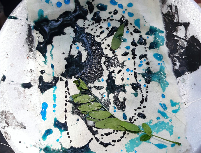 Mark making with tea, coffee, dirt, and paint