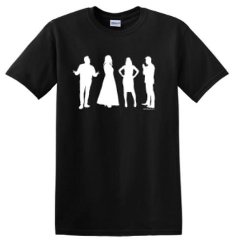 Avalon Iconic Shirt (Inverse) - BLACK shirt, WHITE image