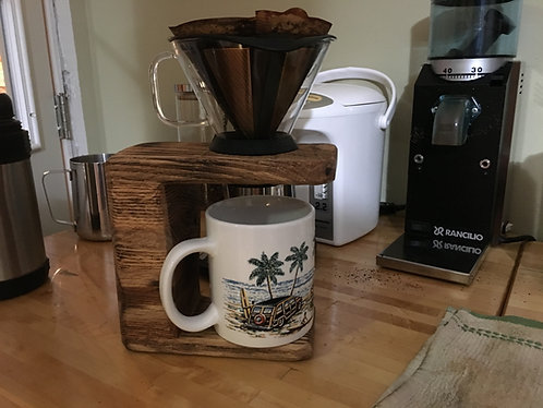 Oak Pour-Over Coffee Stand