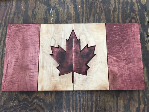 Hand Carved Canadian Flag (Maple)