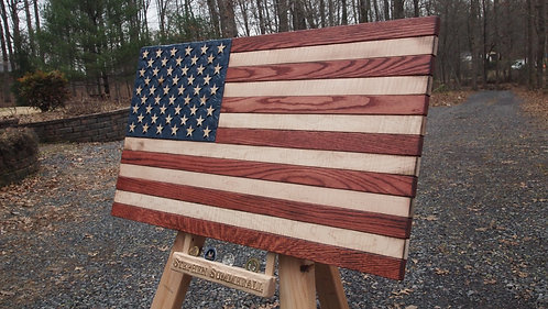 Large American Flag with Hand-Carved Coin Tray