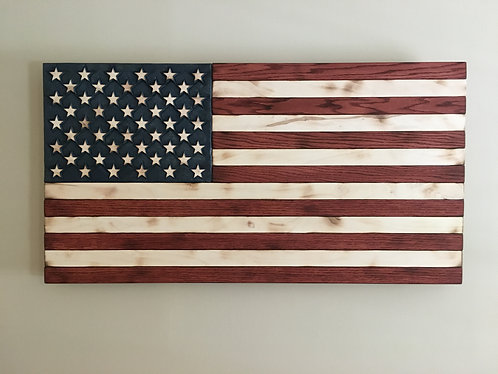 Hand Carved Large American Flag