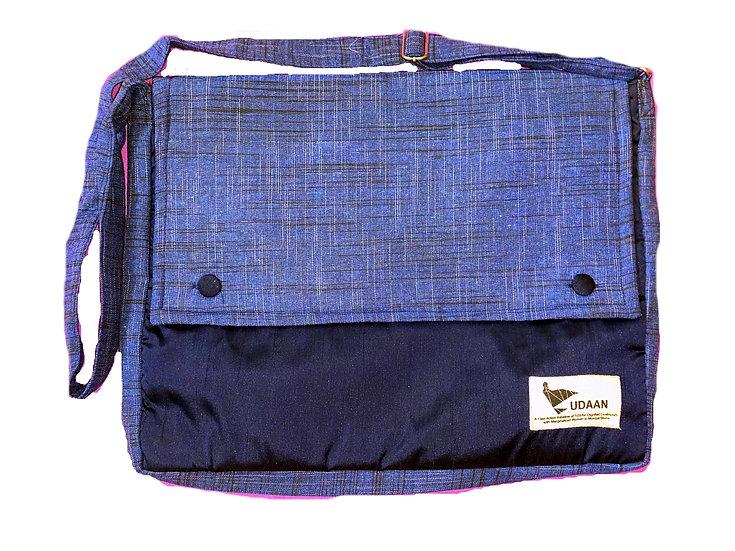 Midnight Blue Khadi Laptop Bag