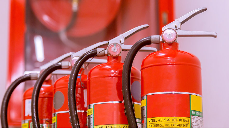 Red tank of fire extinguisher Overview o