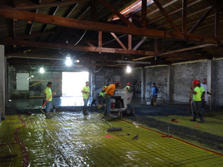 Concrete floor being poured!