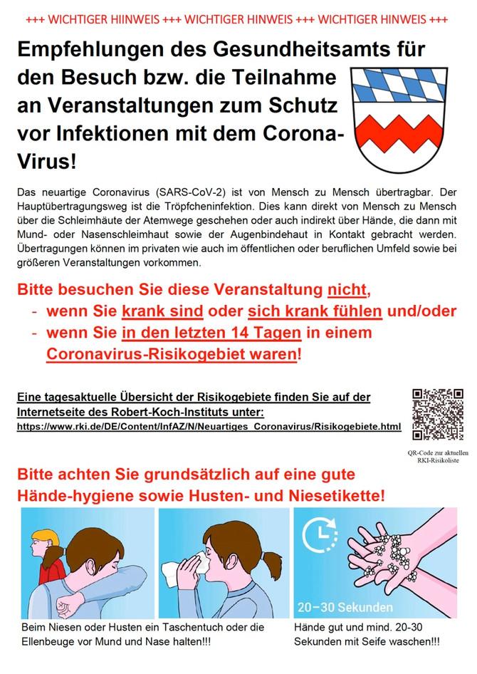 Hinweise und Informationen zu Covid-19 (Corona Virus)