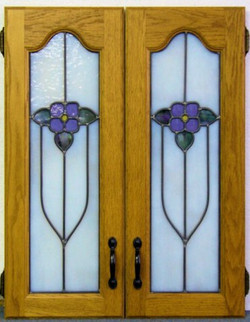 Blue Flowers in Arched Cabinets