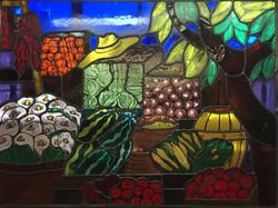 painted market scene