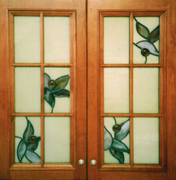 Leaf and Jewel on white Cabinets