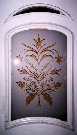 Arched Floral and Wheat Etching