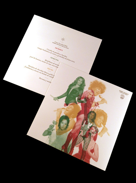 Diseño del menú con temática divas de la canción en formato funda de vinilo single.
