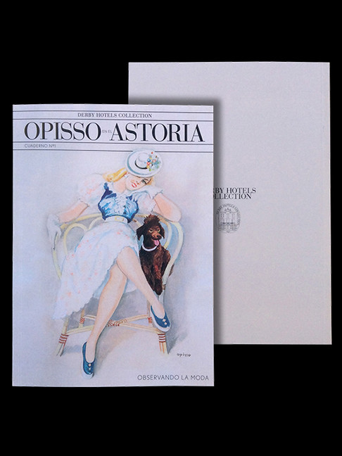 Portada y contraportada del cuaderno Opisso en el Astoria, Observando la moda.