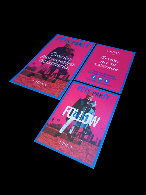 Frente y dorso tarjeta follow us y etiqueta para bolsas.