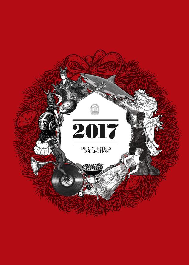 Diseño e ilustración del menú, cuyo motivo para este año era un listado de canciones populares escogidas para la ocasión.