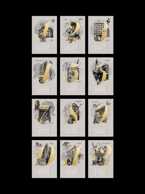 Doce meses doce imágenes, con la posibilidad de personalizar cada una como tarjeta postal, basta con señalar la fecha deseada y enviarla con un texto manuscrito en la parte posterior.