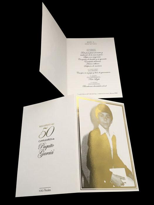 Invitación postal 50 aniversario y menú.