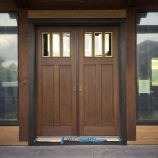 Gel stain fiber glass front doors.