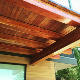 Glulams refinished with Sikkens Prolux Log and Siding.