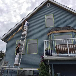 Prep stage of an exterior paint job.