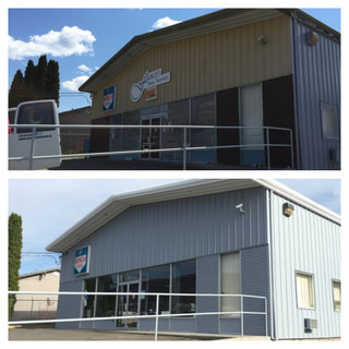 Before and after of an exterior of a mechanic shop.