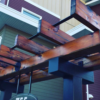 A re-finished arbor with wiping stain.