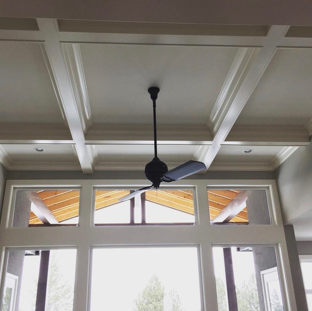 Coffered ceiling in a new home.