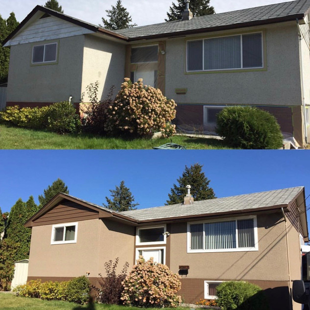 Before and after of an exterior paint job by ColourPro Painting.