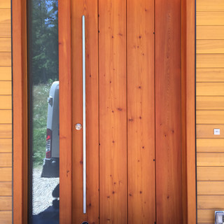 Front door sanded and stained with Sikkens Cetol SRD.
