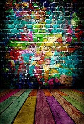 5x7ft Colored Brick Wall