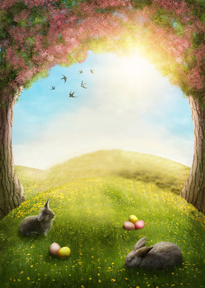 3x5ft Spring Forest Easter