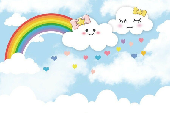 6x4ft Rainbow Cloud Backdrop Cartoon Bac
