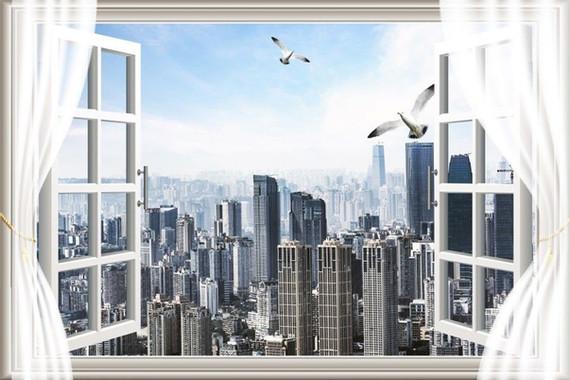 7x5ft City Skyline Building Window