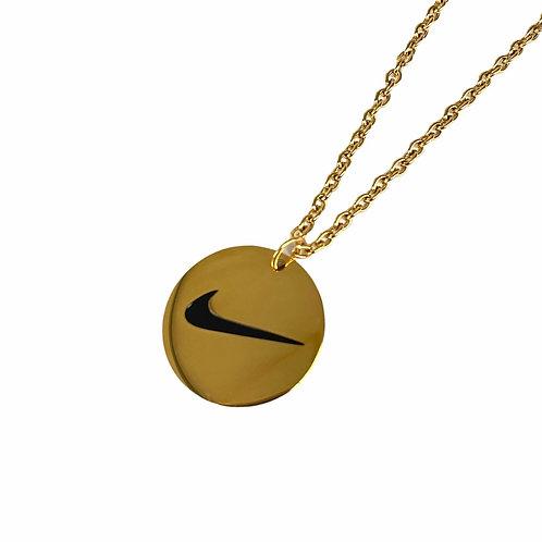 Nike Round Swoosh Necklace Gold