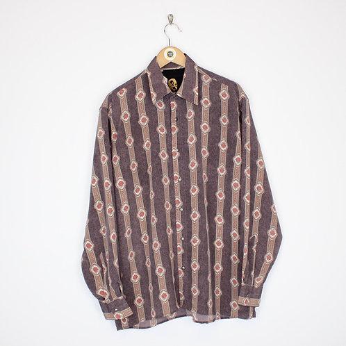 Vintage Abstract Silk Shirt Large