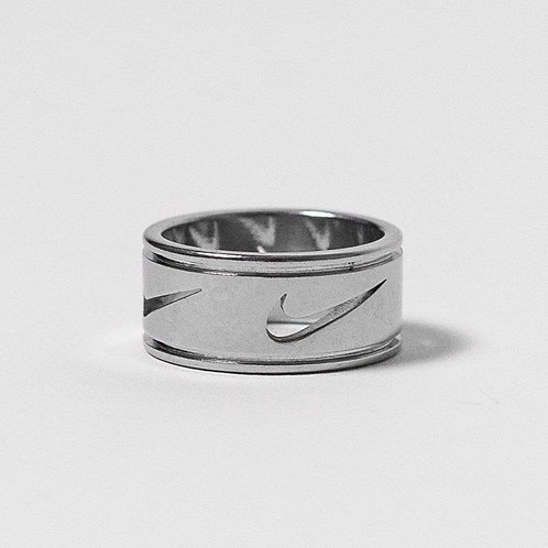 Nike Multi Cut Out Swoosh Ring Silver