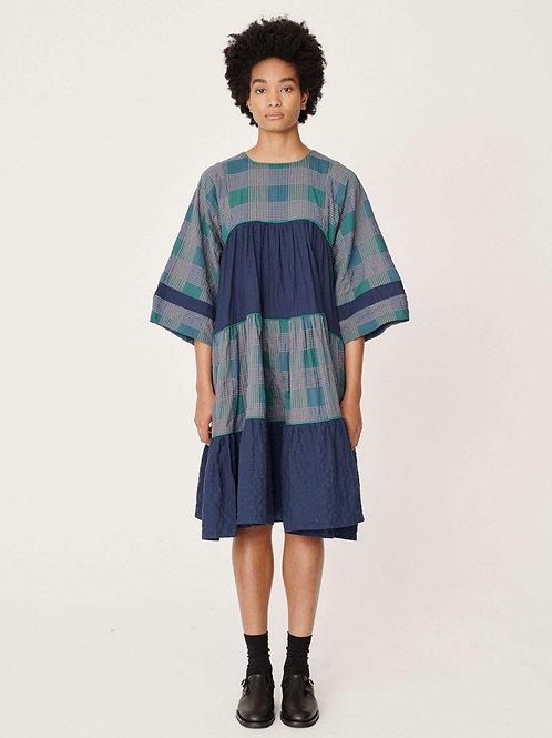 YMC Petite Paloma Dress, crinkle herringbone multi