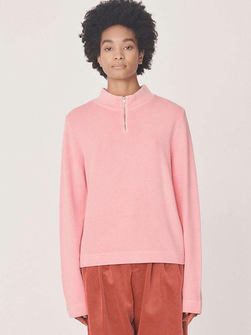 YMC Zip Wave Cotton Sweatshirt, pink