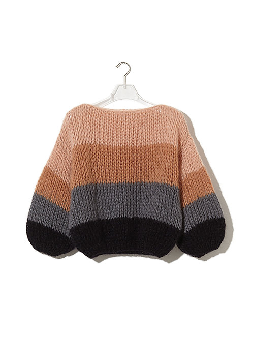 Maiami Big Sweater Colour Block, peach