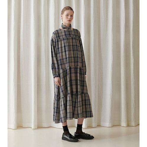 Skall Studio Karen Dress, brown + navy check
