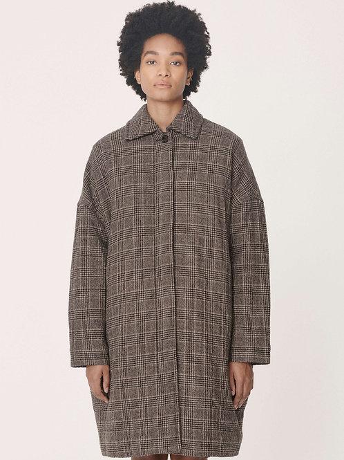 YMC Cocoon Coat, brown check