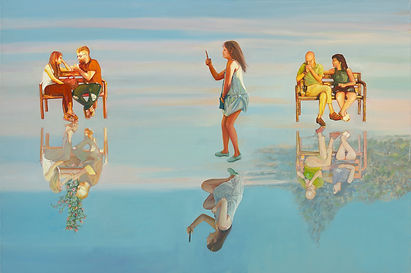 Nurit Shany Art, Parallel Realities series, an oil painting of people walking in the sky and their reflection, collective and gallery art